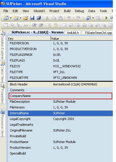ActiveX project - CompanyName property is empty