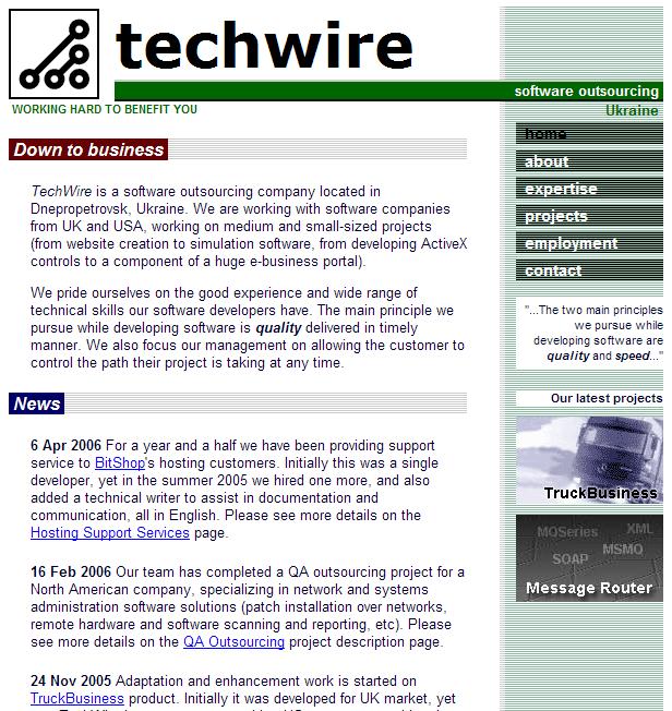 TechWire site 2001-2008